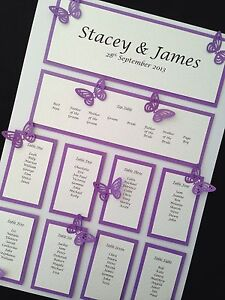 A3 Personalised Handmade Wedding Table Planner Seating ...