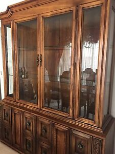 Solid wood China cabinet and hostess buffet hutch