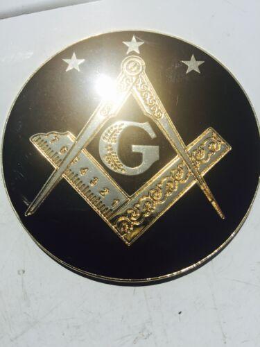 "Masonic prince Hall black and gold metal auto car truck 3"" Emblem"