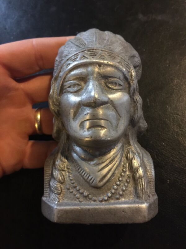 Indian Motorcycles SOLID METAL Piggy Bank 3/4lb+ Antique Style Brass Harley Vg