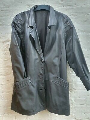 Vintage 80's long Black Leather jacket with shoulder detail, womens