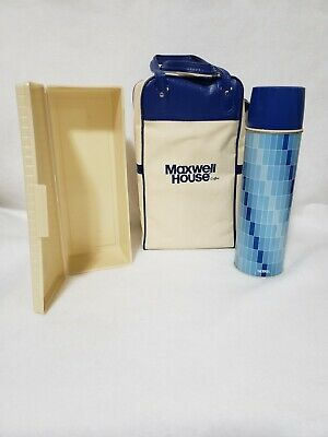 VINTAGE MAXWELL HOUSE GLASS THERMOS WITH CANVAS TRAVEL BAG - NEVER USED!