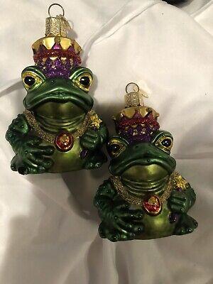 Old World Christmas Frog King Glass Ornament