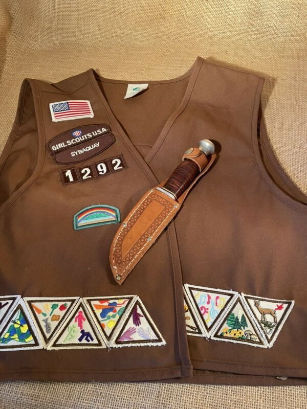 Vintage Girl Scouts of America Hunting Knife with Sheath & Vest with Patches