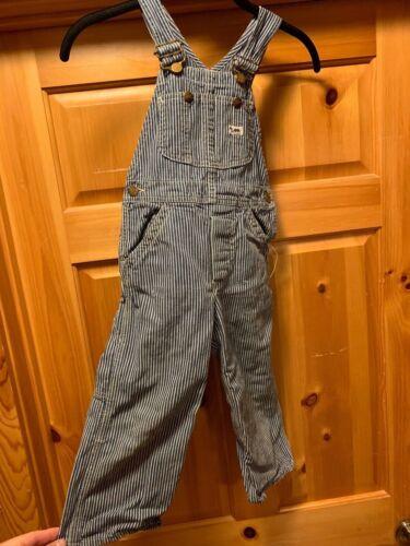 Vintage LEE Bib Overalls Kids Toddler USA Button Fly Sanforized Striped Engineer