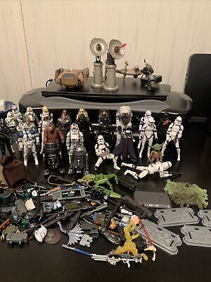 Star Wars Action Figure Lot Of 27 Figures, Weapons, Accessories, Stands Vehicles