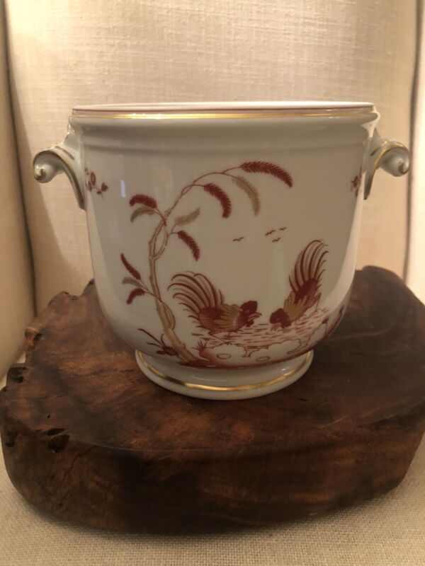 """Richard Ginori Sienna Rust Roosters Cachepot Made In Italy- Rare 5 1/4"""" Tall"""