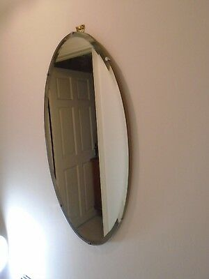 ART DECO VINTAGE FRAMELESS LARGE BEVEL EDGED OVAL WALL MOUNTED MIRROR