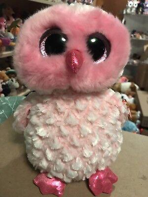 """Ty TWIGGY -Pink/Fuchsia Fluffy Snow Owl Medium 10"""" Beanie Boo Buddy!"""