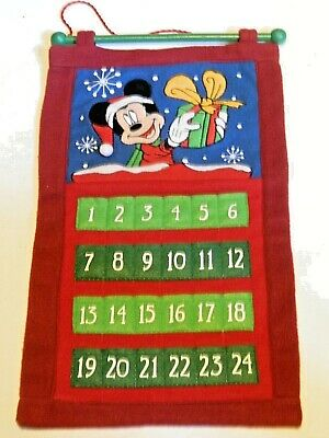 Disney Mickey Mouse Fabric Cloth Advent Calendar Christmas Countdown Hallmark