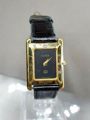 Vintage Ladies Gucci Gold-Tone Watch 4200L w/Black Leather Speidel Croc Band