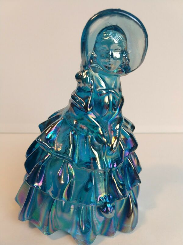 "Wheaton Art Carnival Glass 5 1/8"" Southern Belle Iridescent Blue Lady Figurine"