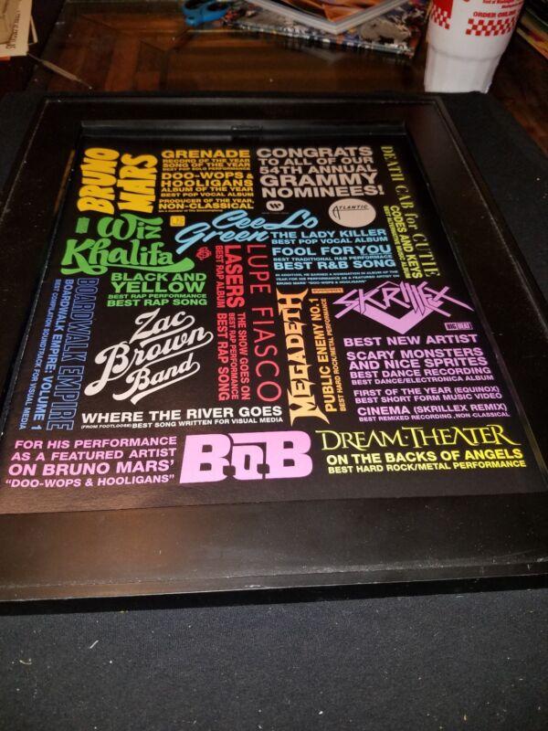 Dream Theater/Megadeth/Skrillex Rare Grammy Awards Promo Poster Ad Framed!
