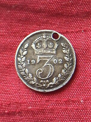 King Edward VII 1902 Threepence Holed .925 Sterling Silver Coin
