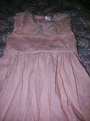 Lavender Blue Girls Sz. 4 Pink Lined Delicate Bib Lace Dress. Elegant, Beautiful Blue Bib Lace Dress