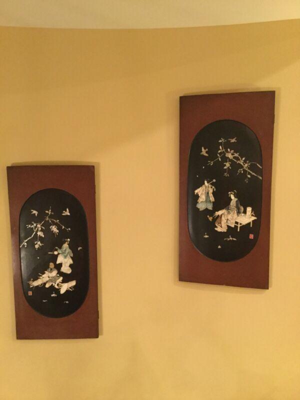 "Antique Asican Wood Panels 47 1/2"" x 22 1/2"" Excellent Condition"
