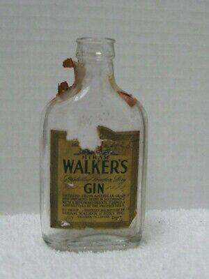 VINTAGE HIRAM WALKERS DISTILLED LONDON DRY GIN MINIATURE 1/10 PINT BOTTLE
