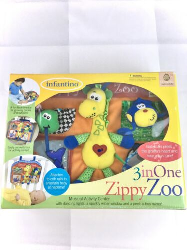 Infantino Baby Toddler Toy 3 in 1 Musical Activity Center Zippy Zoo for Crib Car