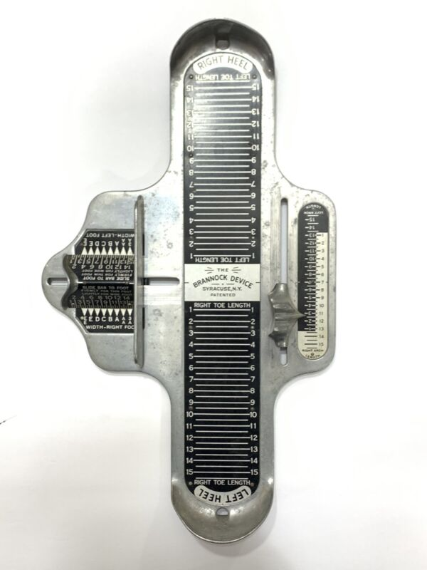 The Brannock Device Foot Shoe Boot Sizer Made Syracuse NY Metal Vintage Retro