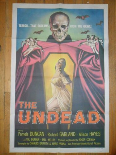 The Undead ORIGINAL 1957 1-SHEET POSTER Iconic Horror Image!  AIP Roger Corman