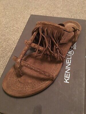Kennel & Schmenger Elle sandals. UK SIZE 6.5. Brown suede with tassels. New