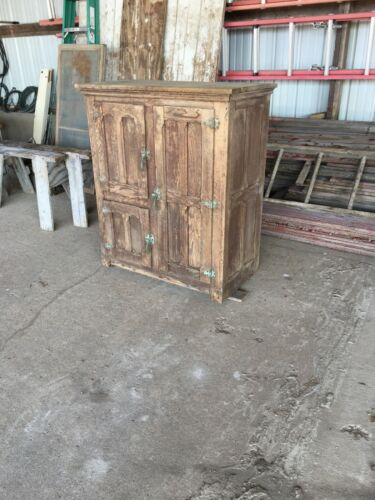 antique oak ice box / antique liquor bar cabinet / rustic whiskey cabinet