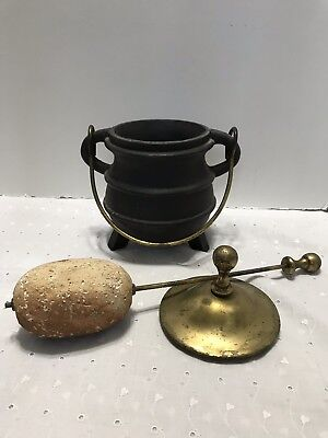Vintage Cast Iron Fire Starter Pot With Brass Lid & Wand Cape Cod Style