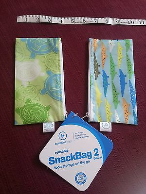 New NWT Bumkins Reusable Snack Bag 2 Pack Zippered Close Washable Eco Friendly
