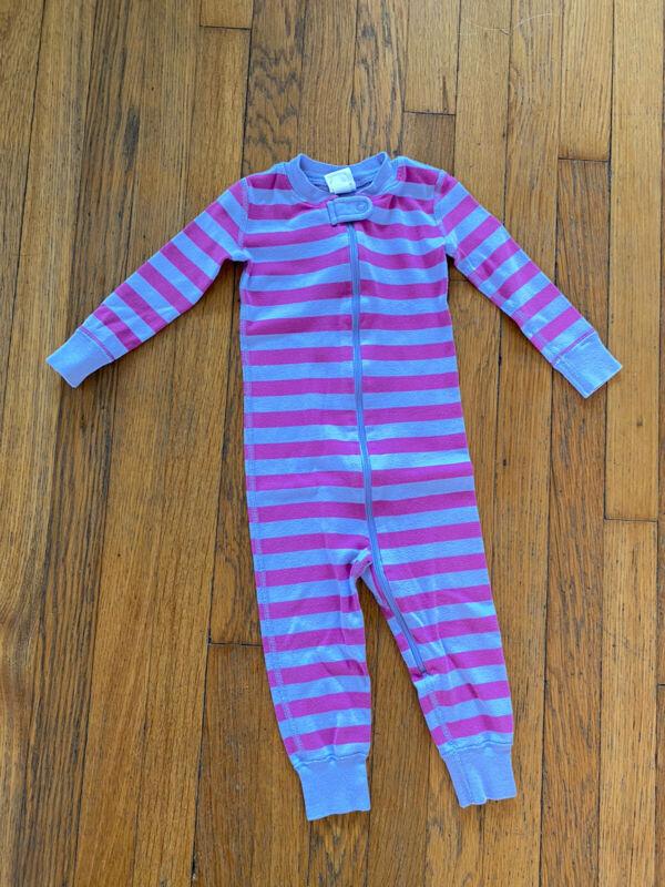 Hanna Andersson Girls Pajamas Striped Sleeper Pink Purple Organic Cotton 90 EUC