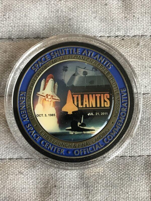 NASA Space Shuttle Atlantis Flown Metal Coin Medallion Medal Challenge Coin