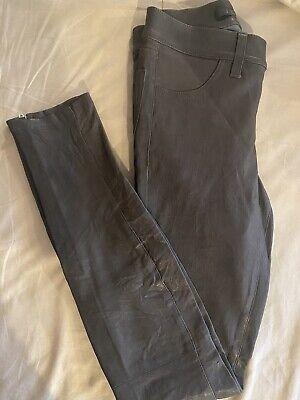 J Brand Leather Pants Charcoal Size 23 Mid-Rise Super Skinny Leggings Zipper Hem