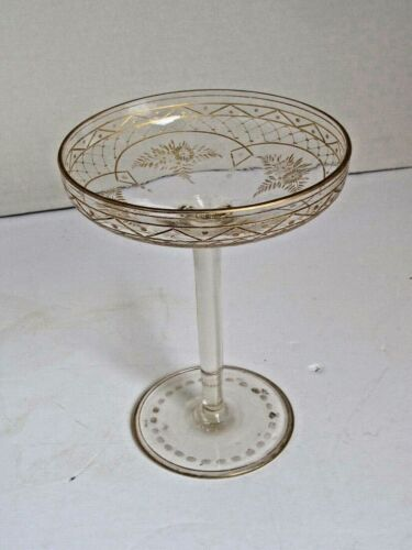 """Antique Etched Floral Crystal with Gold Gilt Comporte  Tazza 7"""" tall"""