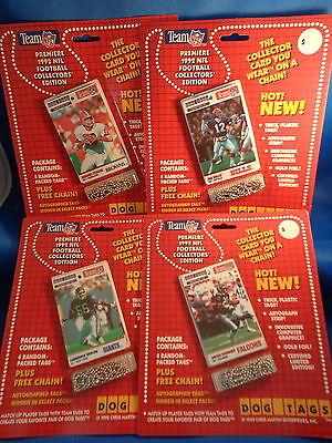 1992 DOG TAGS FOOTBALL -  NOVELTY PIN & CARD (4) PACKS ! HALL of FAMERS !