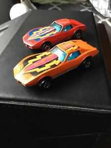 Vintage Hot Wheels, PAIR of 1970's Enamel Corvette Stingrays
