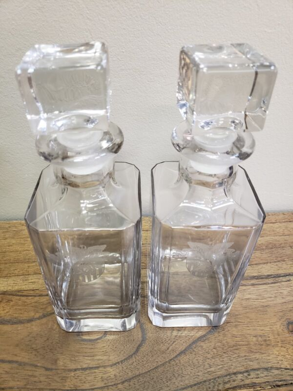 Vintage Etched Heisey West Point Square Glass Decanters Set of 2 Crest  #9031