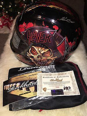 Slayer Signed RockHard Motorcycle Full Face Helmet Medium W/ COA Limited to 50!!