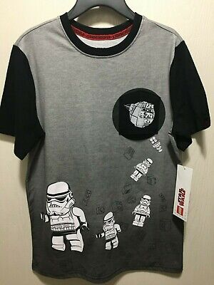 Lego Disney Star Wars Boys Gray Black T-Shirt Stormtrooper S-XXL 6-18 Brand NEW New Boys Star Wars Lego