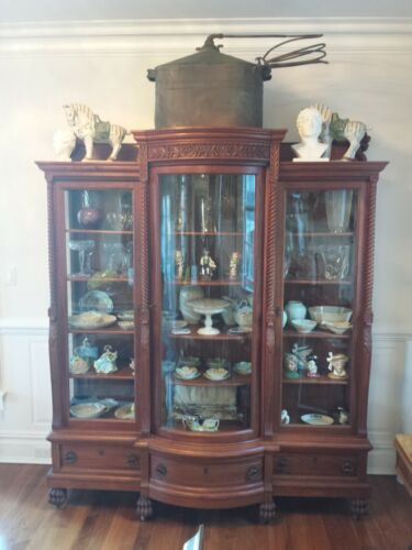 MAGNIFICENT HAIRY PAW ANTIQUE DISPLAY CABINET