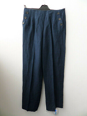 "Jaeger Navy Wide Leg Trousers Silk and Linen Blend Size UK 12 (32"" Long)"