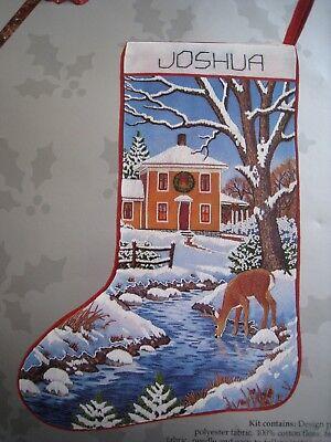 Candamar Crewel Embroidery Stitchery Stocking KIT,CHRISTMAS DEER SCENE,40246,17