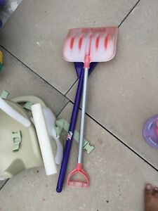 Kids toy shovel and rake