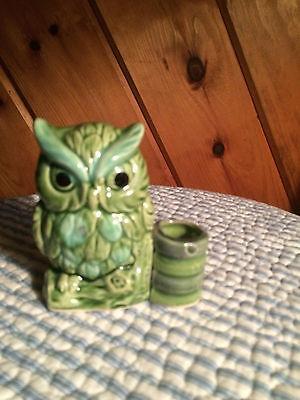 Green Ceramic Owl - Toothpick Holder