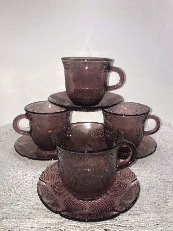 4 Vtg Purple Amethyst Cups & Saucers, Mexican Fortecrisa Purple Glass Exc Cond