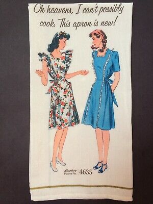 Simplicity Vintage 1940's Fashion 'Oh Heavens' Kitchen & Tea Towel NEW