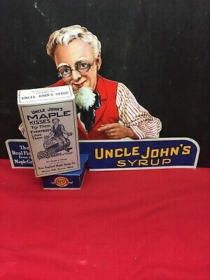 Uncle John's Syrup Store Display Advertising Sign w/Product Package