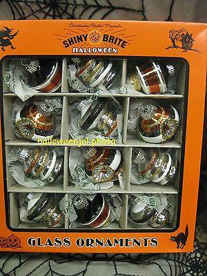 RADKO Halloween ORNAMENTS Shiny Brite MERCURY GLASS Set of 12 SHAPES REFLECTORS](Halloween Glass Ornaments Set Of 12)