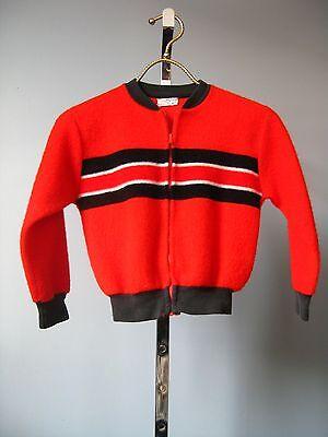 Vintage 1960s Boys Montgomery Ward Red Black Fleece Boys Baseball Jacket (1960s Boys)