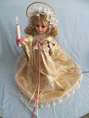 "VTG  Animated Angel Christmas Lighted Motion 24"" Extra Long Gown Beautiful"