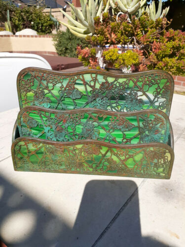 Tiffany Studios Grapevine Bronze and Green glass two tier letter holder- As Is