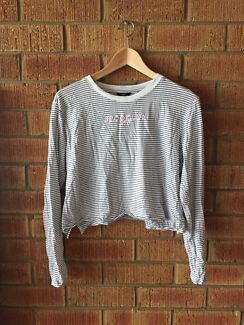 "Striped long sleeve ""Brooklyn nyc"" crop T-shirt top vintage style"